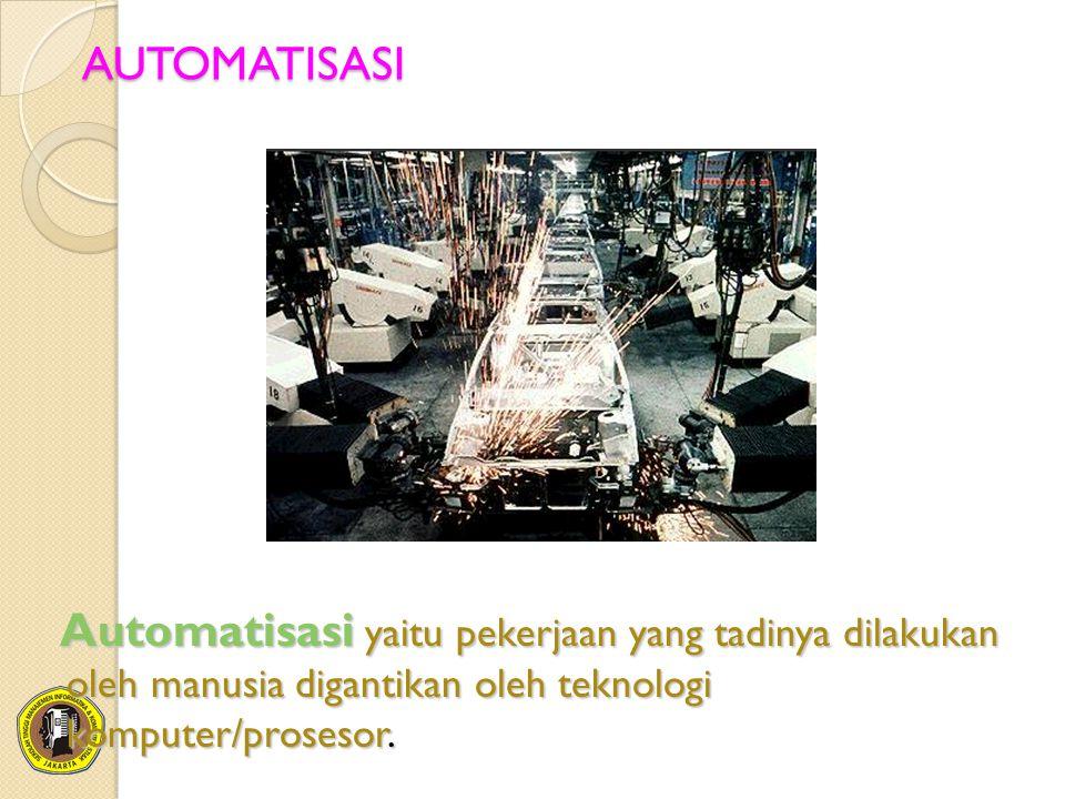 AUTOMATISASI Automatisasi yaitu pekerjaan yang tadinya dilakukan oleh manusia digantikan oleh teknologi komputer/prosesor.