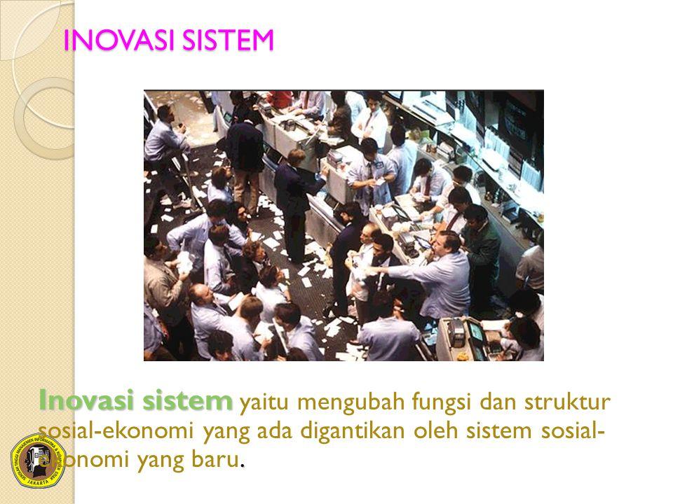 INOVASI SISTEM Inovasi sistem. Inovasi sistem yaitu mengubah fungsi dan struktur sosial-ekonomi yang ada digantikan oleh sistem sosial- ekonomi yang b