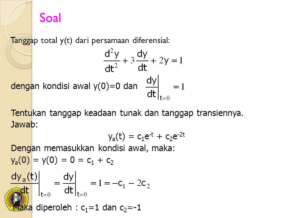 Sehingga diperoleh persamaan: y a (t) = e -t - e -2t Tanggap dipaksa (forced response - integral konvoluasi): Tanggap total : y(t) = ya(t) + yb(t) = (e -t - e -2t )+½(1 – 2 e -t + e -2t ) = ½ – ½e -2t ) Tanggap Keadaan Tunak : Tanggap Transien :