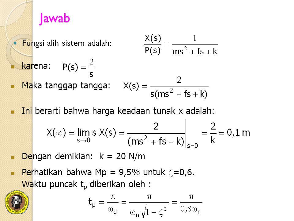 Jawab Fungsi alih sistem adalah: karena: Maka tanggap tangga: Ini berarti bahwa harga keadaan tunak x adalah: Dengan demikian: k = 20 N/m Perhatikan b