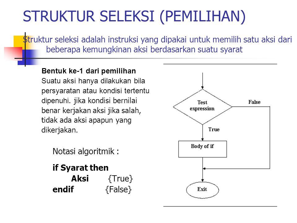 STRUKTUR SELEKSI (PEMILIHAN) Struktur seleksi adalah instruksi yang dipakai untuk memilih satu aksi dari beberapa kemungkinan aksi berdasarkan suatu syarat Bentuk ke-1 dari pemilihan Suatu aksi hanya dilakukan bila persyaratan atau kondisi tertentu dipenuhi.
