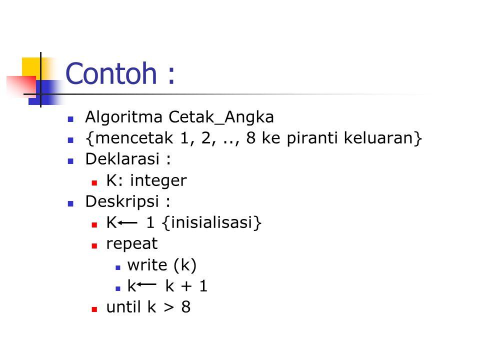 Contoh : Algoritma Cetak_Angka {mencetak 1, 2,.., 8 ke piranti keluaran} Deklarasi : K: integer Deskripsi : K 1 {inisialisasi} repeat write (k) k k +