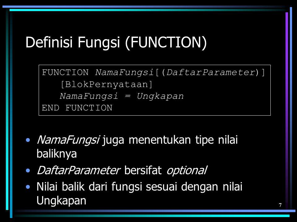 Definisi Fungsi (FUNCTION) NamaFungsi juga menentukan tipe nilai baliknya DaftarParameter bersifat optional Nilai balik dari fungsi sesuai dengan nila