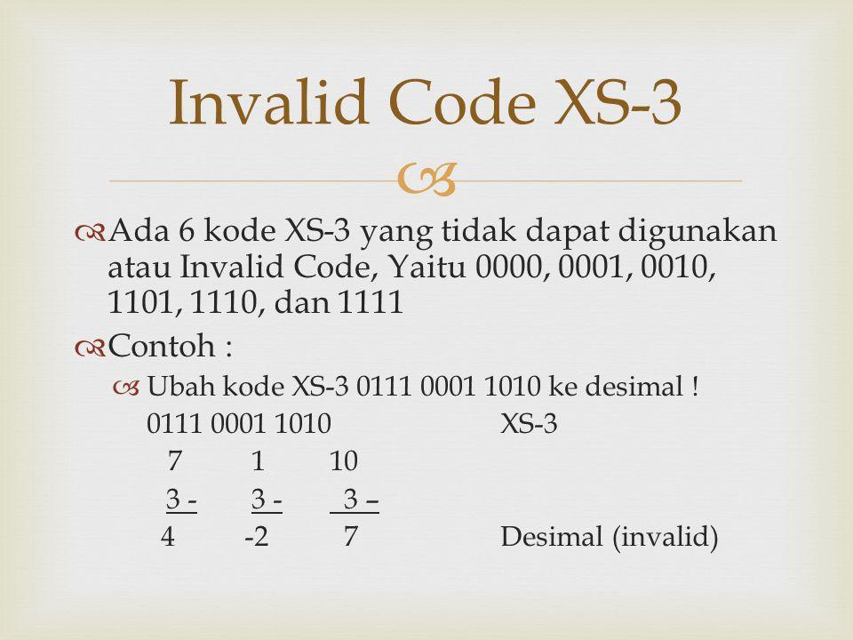   Ada 6 kode XS-3 yang tidak dapat digunakan atau Invalid Code, Yaitu 0000, 0001, 0010, 1101, 1110, dan 1111  Contoh :  Ubah kode XS-3 0111 0001 1