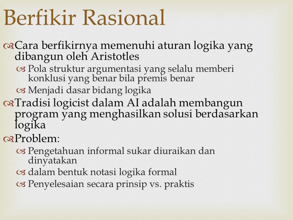 Berfikir Rasional  Cara berfikirnya memenuhi aturan logika yang dibangun oleh Aristotles  Pola struktur argumentasi yang selalu memberi konklusi yan
