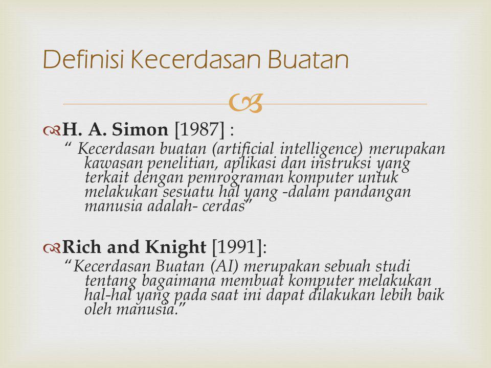 """  H. A. Simon [1987] : """" Kecerdasan buatan (artificial intelligence) merupakan kawasan penelitian, aplikasi dan instruksi yang terkait dengan pemrog"""