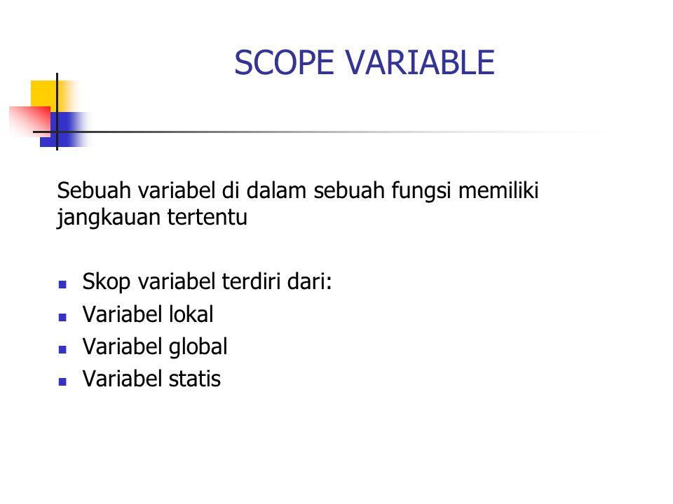 SCOPE VARIABLE Sebuah variabel di dalam sebuah fungsi memiliki jangkauan tertentu Skop variabel terdiri dari: Variabel lokal Variabel global Variabel statis