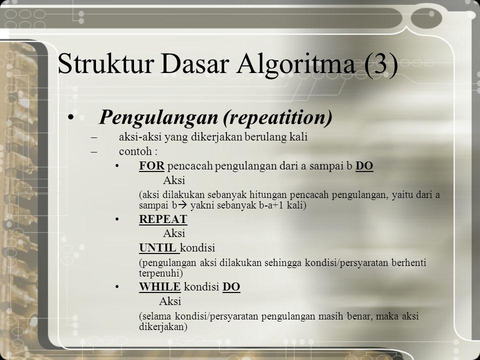 Struktur Dasar Algoritma (3) Pengulangan (repeatition) –aksi-aksi yang dikerjakan berulang kali –contoh : FOR pencacah pengulangan dari a sampai b DO