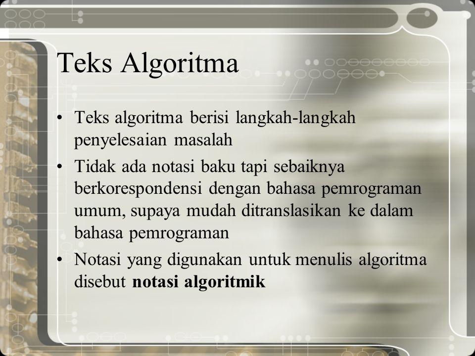 Teks Algoritma Teks algoritma berisi langkah-langkah penyelesaian masalah Tidak ada notasi baku tapi sebaiknya berkorespondensi dengan bahasa pemrogra