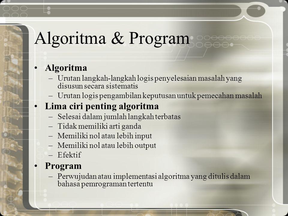 Algoritma & Program Algoritma –Urutan langkah-langkah logis penyelesaian masalah yang disusun secara sistematis –Urutan logis pengambilan keputusan un