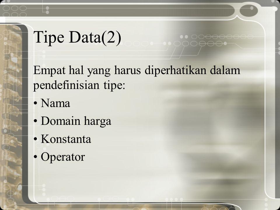Tipe Data(2) Empat hal yang harus diperhatikan dalam pendefinisian tipe: Nama Domain harga Konstanta Operator