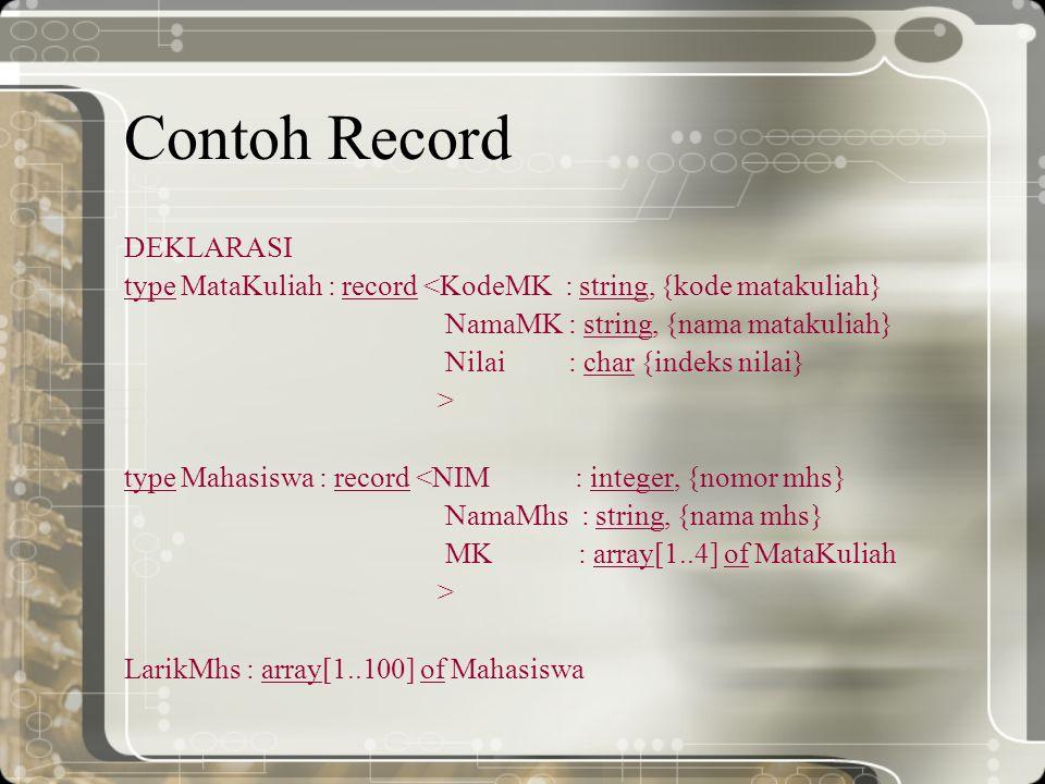 Contoh Record DEKLARASI type MataKuliah : record <KodeMK : string, {kode matakuliah} NamaMK : string, {nama matakuliah} Nilai : char {indeks nilai} >