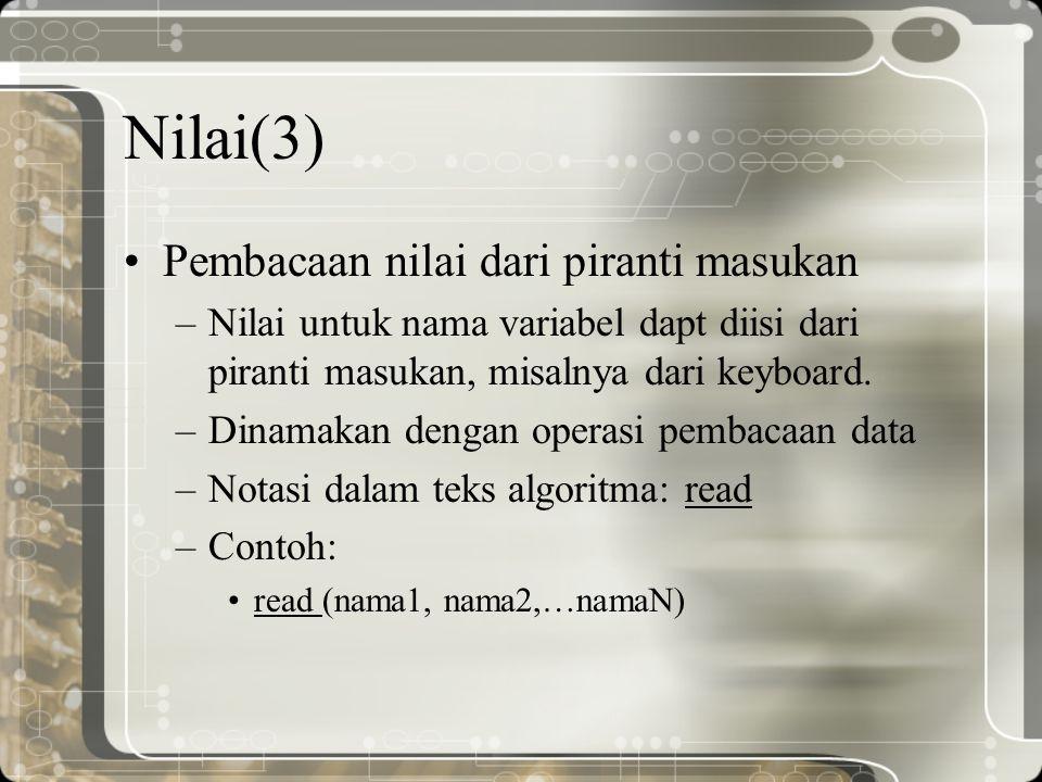 Nilai(3) Pembacaan nilai dari piranti masukan –Nilai untuk nama variabel dapt diisi dari piranti masukan, misalnya dari keyboard. –Dinamakan dengan op