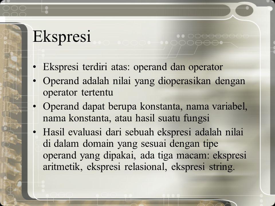 Ekspresi Ekspresi terdiri atas: operand dan operator Operand adalah nilai yang dioperasikan dengan operator tertentu Operand dapat berupa konstanta, n