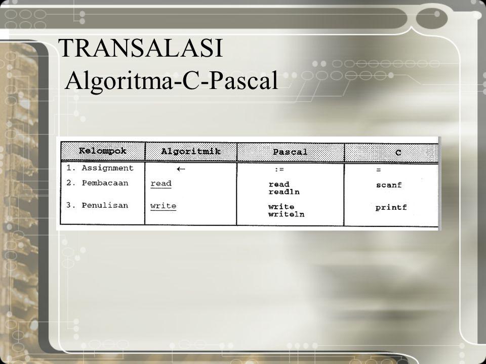 TRANSALASI Algoritma-C-Pascal