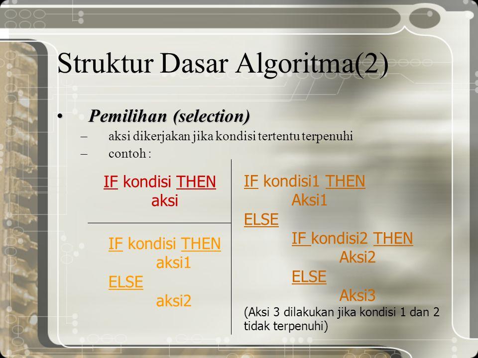 Struktur Dasar Algoritma (3) Pengulangan (repeatition) –aksi-aksi yang dikerjakan berulang kali –contoh : FOR pencacah pengulangan dari a sampai b DO Aksi (aksi dilakukan sebanyak hitungan pencacah pengulangan, yaitu dari a sampai b  yakni sebanyak b-a+1 kali) REPEAT Aksi UNTIL kondisi (pengulangan aksi dilakukan sehingga kondisi/persyaratan berhenti terpenuhi) WHILE kondisi DO Aksi (selama kondisi/persyaratan pengulangan masih benar, maka aksi dikerjakan)