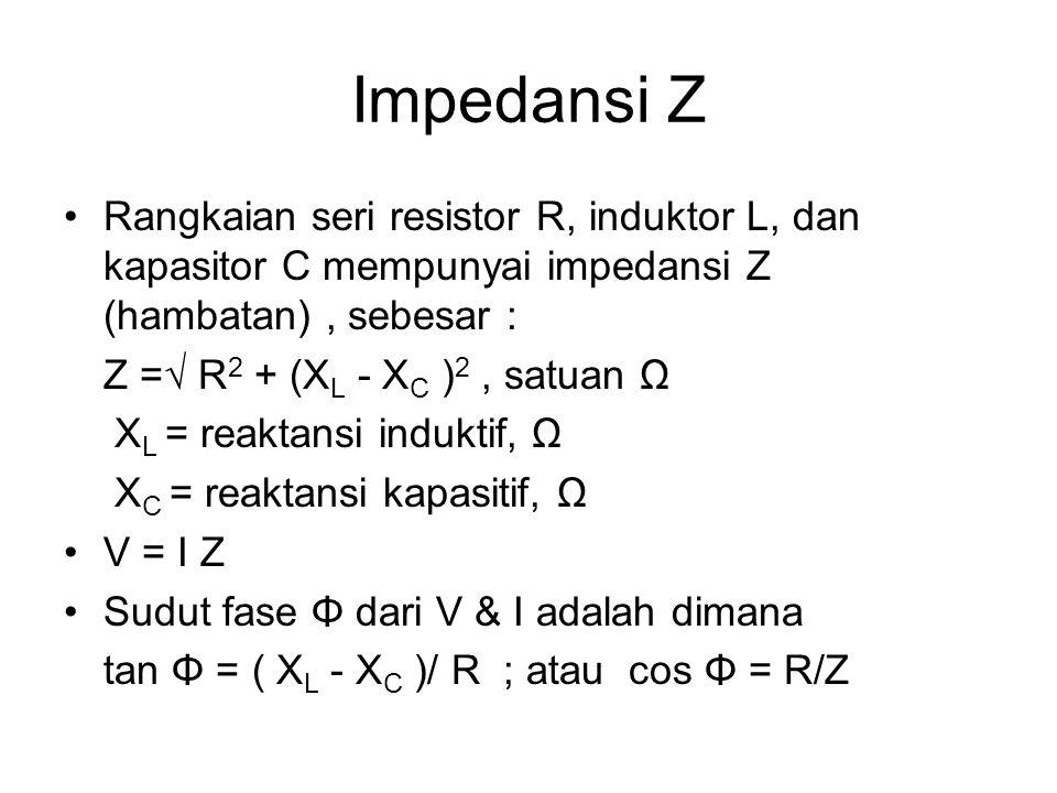 Impedansi Z Rangkaian seri resistor R, induktor L, dan kapasitor C mempunyai impedansi Z (hambatan), sebesar : Z =√ R 2 + (X L - X C ) 2, satuan Ω X L = reaktansi induktif, Ω X C = reaktansi kapasitif, Ω V = I Z Sudut fase Φ dari V & I adalah dimana tan Φ = ( X L - X C )/ R ; atau cos Φ = R/Z