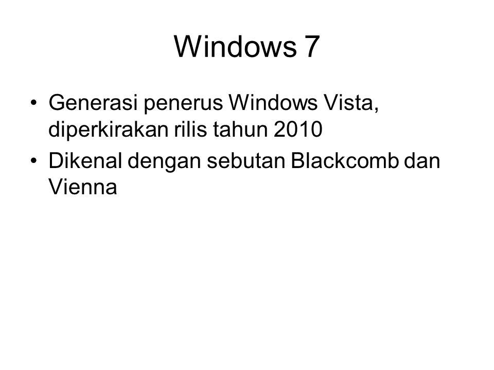 Windows 7 Generasi penerus Windows Vista, diperkirakan rilis tahun 2010 Dikenal dengan sebutan Blackcomb dan Vienna