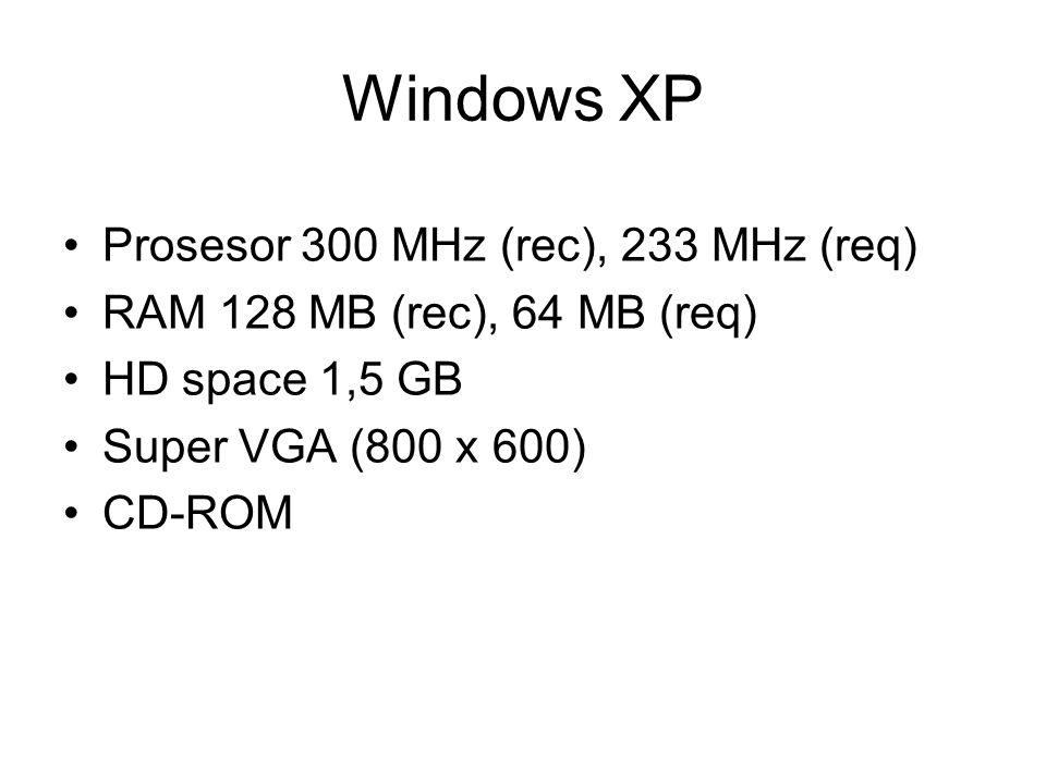 Prosesor 300 MHz (rec), 233 MHz (req) RAM 128 MB (rec), 64 MB (req) HD space 1,5 GB Super VGA (800 x 600) CD-ROM Windows XP