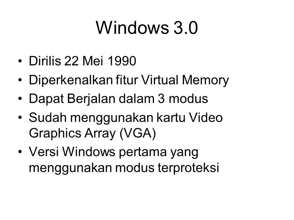 Windows 3.0 Dirilis 22 Mei 1990 Diperkenalkan fitur Virtual Memory Dapat Berjalan dalam 3 modus Sudah menggunakan kartu Video Graphics Array (VGA) Ver