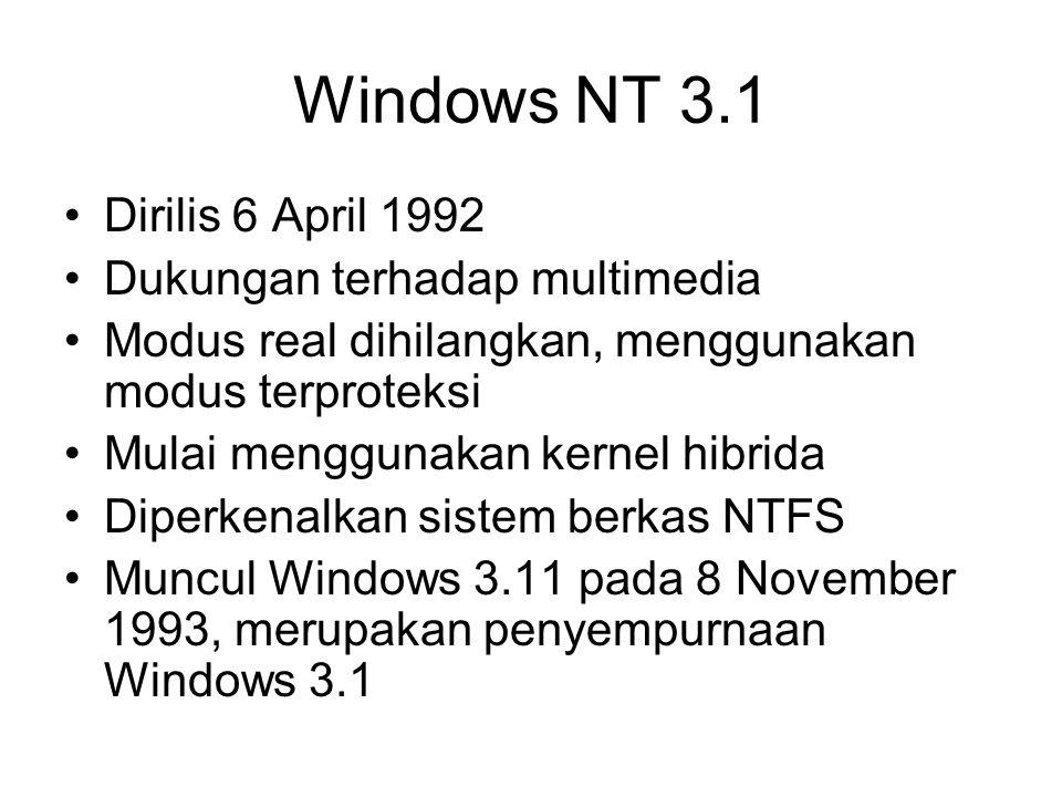 Windows 95 (NT 4.0) Dirilis 24 Agustus 1995 Diperkenalkan teknologi Plug and Play (PnP) Menggunakan kernel 32-bit Menggunakan Sistem Operasi DOS buatan Microsoft sendiri Support perangkat keras berbasis bus (USB)