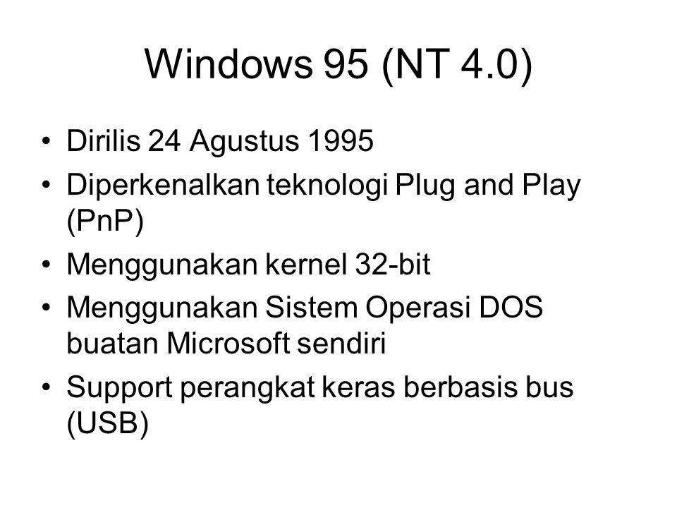 Windows 95 (NT 4.0) Dirilis 24 Agustus 1995 Diperkenalkan teknologi Plug and Play (PnP) Menggunakan kernel 32-bit Menggunakan Sistem Operasi DOS buata