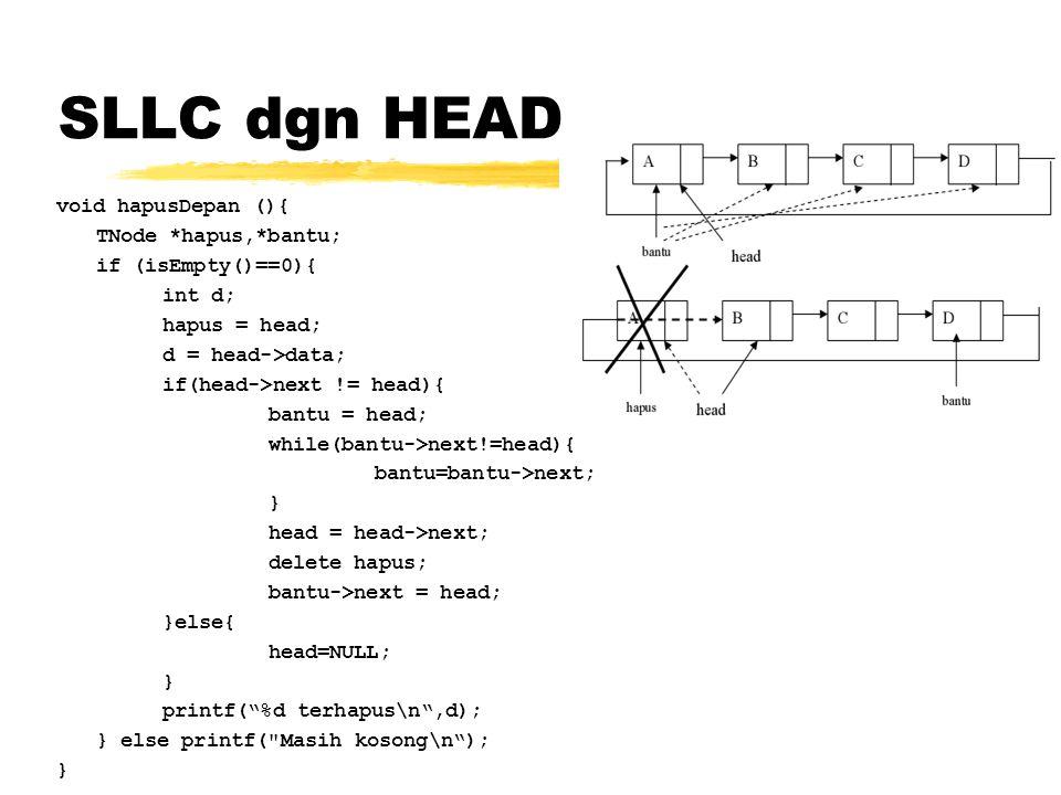 SLLC dgn HEAD void hapusDepan (){ TNode *hapus,*bantu; if (isEmpty()==0){ int d; hapus = head; d = head->data; if(head->next != head){ bantu = head; w