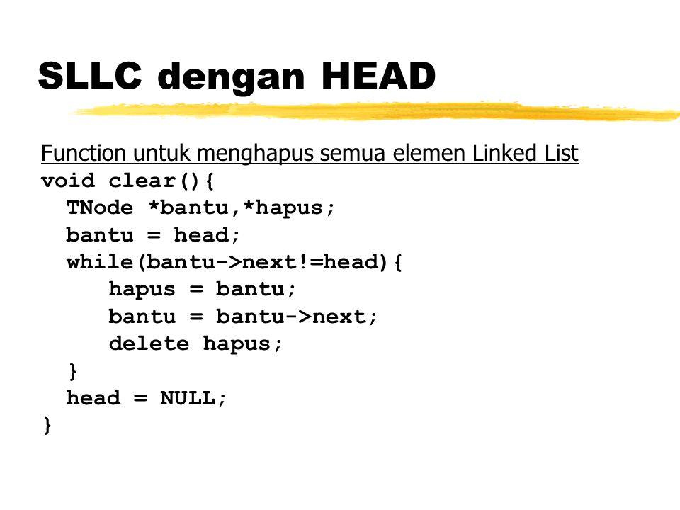 Function untuk menghapus semua elemen Linked List void clear(){ TNode *bantu,*hapus; bantu = head; while(bantu->next!=head){ hapus = bantu; bantu = ba