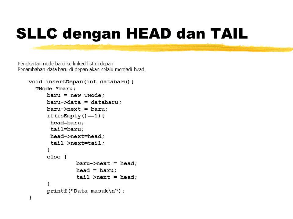 SLLC dengan HEAD dan TAIL Pengkaitan node baru ke linked list di depan Penambahan data baru di depan akan selalu menjadi head. void insertDepan(int da