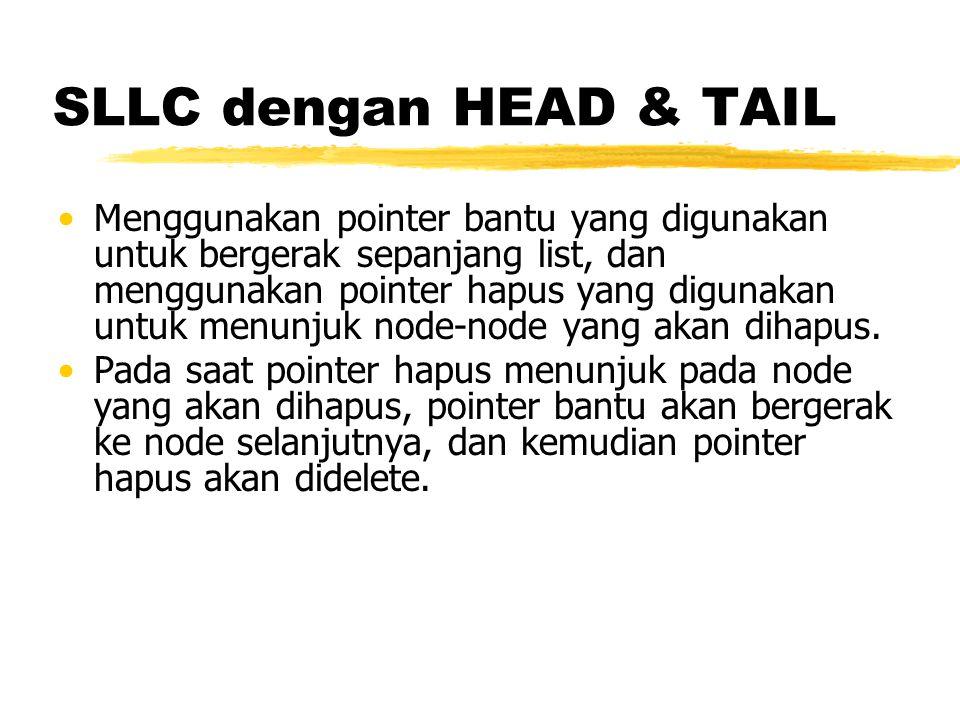 SLLC dengan HEAD & TAIL Menggunakan pointer bantu yang digunakan untuk bergerak sepanjang list, dan menggunakan pointer hapus yang digunakan untuk men