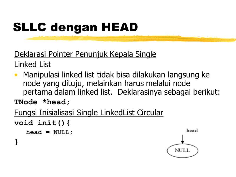SLLC dengan HEAD Function untuk mengetahui kosong tidaknya SLLC int isEmpty(){ if(head == NULL) return 1; else return 0; } Penambahan data di depan Penambahan node baru akan dikaitan di node paling depan, namun pada saat pertama kali (data masih kosong), maka penambahan data dilakukan pada head nya.