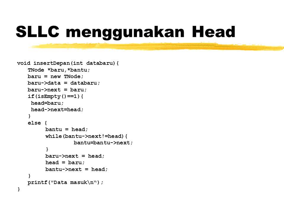 SLLC dengan HEAD dan TAIL Inisialisasi SLLC TNode *head, *tail; Fungsi Inisialisasi SLLC void init(){ head = NULL; tail = NULL; } Function untuk mengetahui kosong tidaknya SLLC int isEmpty(){ if(tail == NULL) return 1; else return 0; }