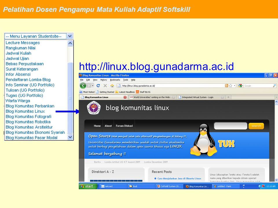 Pelatihan Dosen Pengampu Mata Kuliah Adaptif Softskill http://linux.blog.gunadarma.ac.id