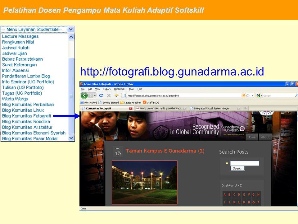 Pelatihan Dosen Pengampu Mata Kuliah Adaptif Softskill http://fotografi.blog.gunadarma.ac.id