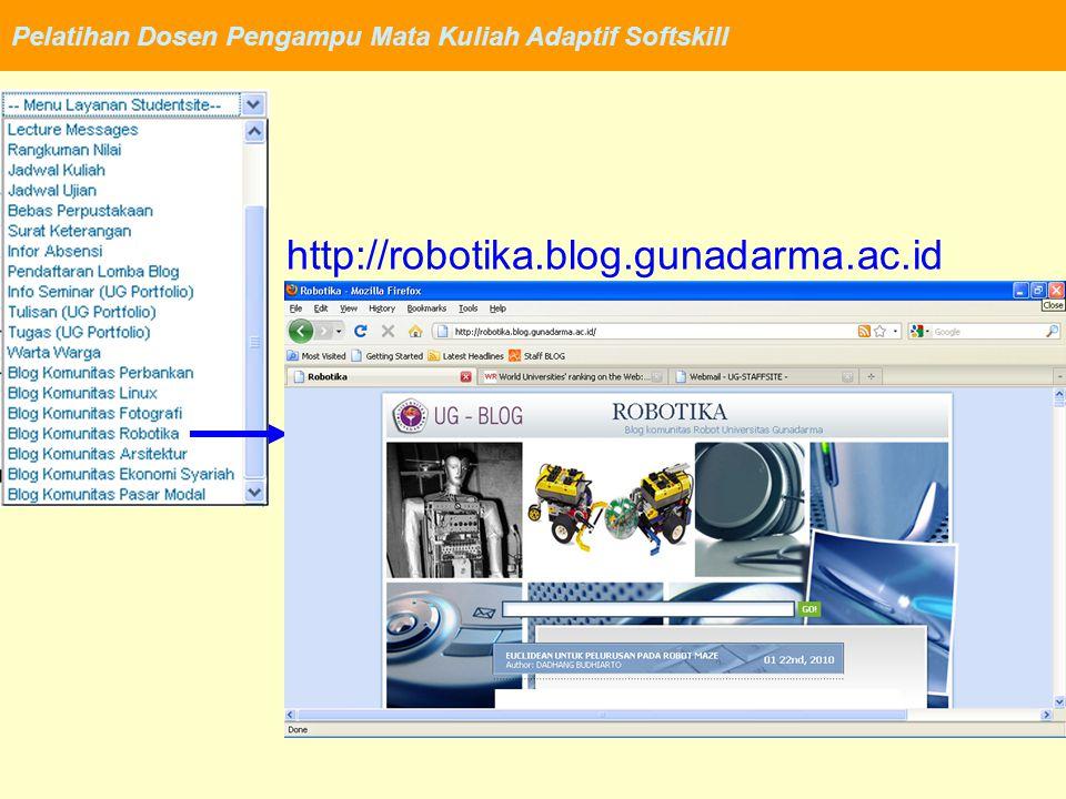 Pelatihan Dosen Pengampu Mata Kuliah Adaptif Softskill http://robotika.blog.gunadarma.ac.id