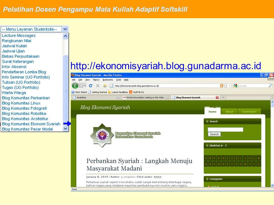 Pelatihan Dosen Pengampu Mata Kuliah Adaptif Softskill http://ekonomisyariah.blog.gunadarma.ac.id