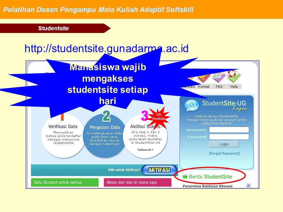 Pelatihan Dosen Pengampu Mata Kuliah Adaptif Softskill Studentsite http://studentsite.gunadarma.ac.id Mahasiswa wajib mengakses studentsite setiap har
