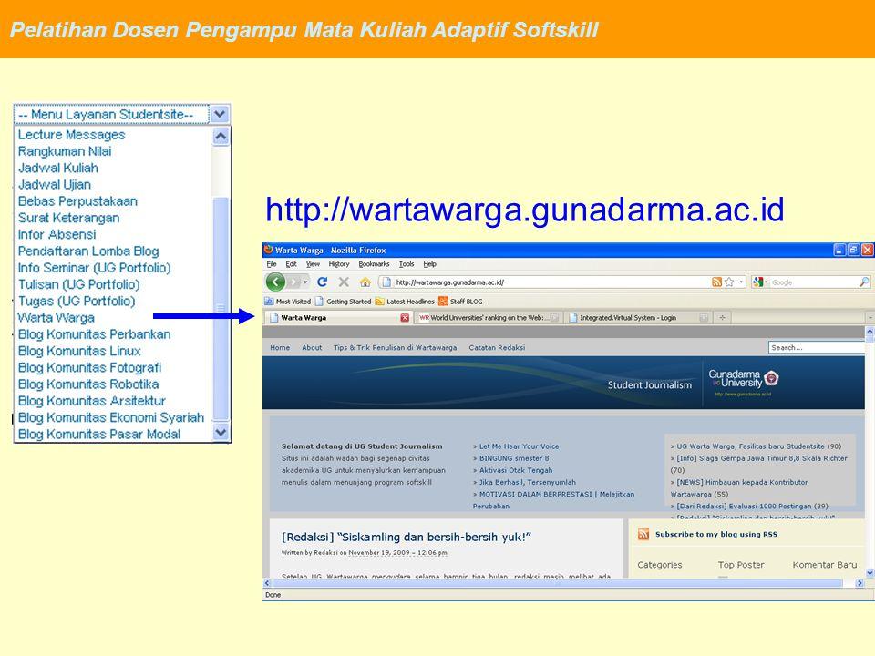 Pelatihan Dosen Pengampu Mata Kuliah Adaptif Softskill http://banking.blog.gunadarma.ac.id