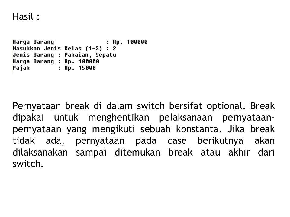 Hasil : Pernyataan break di dalam switch bersifat optional.