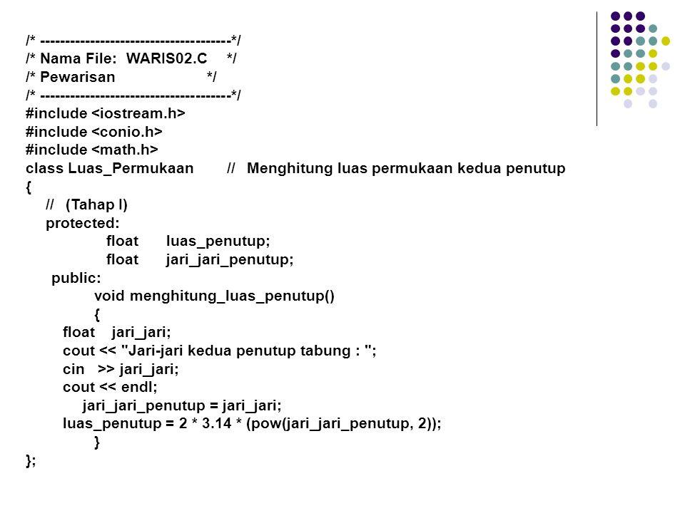 class Dinding_Tabung:public Luas_Permukaan// Menghitung luas {// dinding // (Tahap II) protected: floatluas_dinding_tabung; public: voidmenghitung_luas_dinding_tabung() { floattinggi_tabung; cout << Tinggi tabung : ; cin>> tinggi_tabung; cout << endl; luas_dinding_tabung =2 * 3.14 * jari_jari_penutup * tinggi_tabung; } };