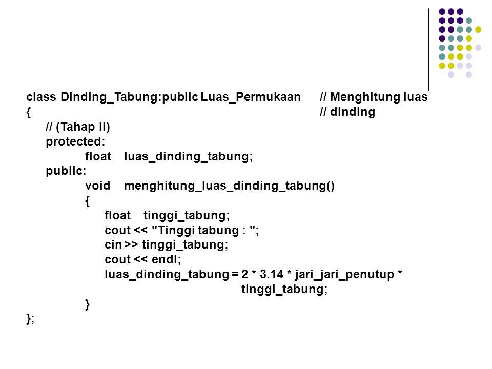 class Luas_Tabung:public Dinding_Tabung // Menghitung jumlah luas { // tabung (Tahap III) public: void luas_keseluruhan() { floatluas_tabung; luas_tabung = luas_penutup + luas_dinding_tabung; cout << Luas Tabung : << luas_tabung; } };