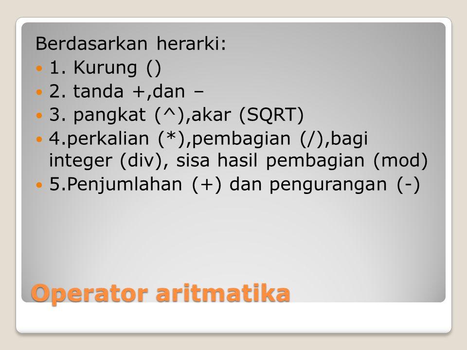 Operator aritmatika Berdasarkan herarki: 1. Kurung () 2. tanda +,dan – 3. pangkat (^),akar (SQRT) 4.perkalian (*),pembagian (/),bagi integer (div), si