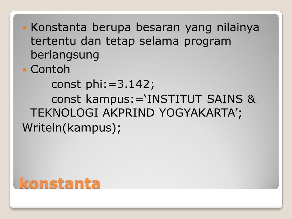 konstanta Konstanta berupa besaran yang nilainya tertentu dan tetap selama program berlangsung Contoh const phi:=3.142; const kampus:='INSTITUT SAINS