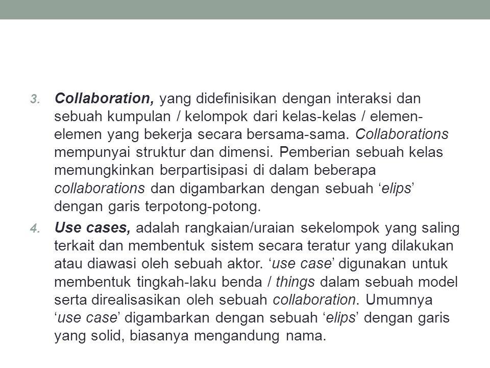 3. Collaboration, yang didefinisikan dengan interaksi dan sebuah kumpulan / kelompok dari kelas-kelas / elemen- elemen yang bekerja secara bersama-sam