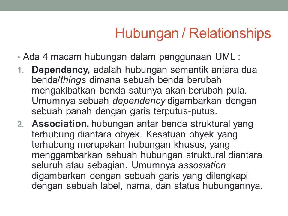 Hubungan / Relationships Ada 4 macam hubungan dalam penggunaan UML : 1. Dependency, adalah hubungan semantik antara dua benda/things dimana sebuah ben