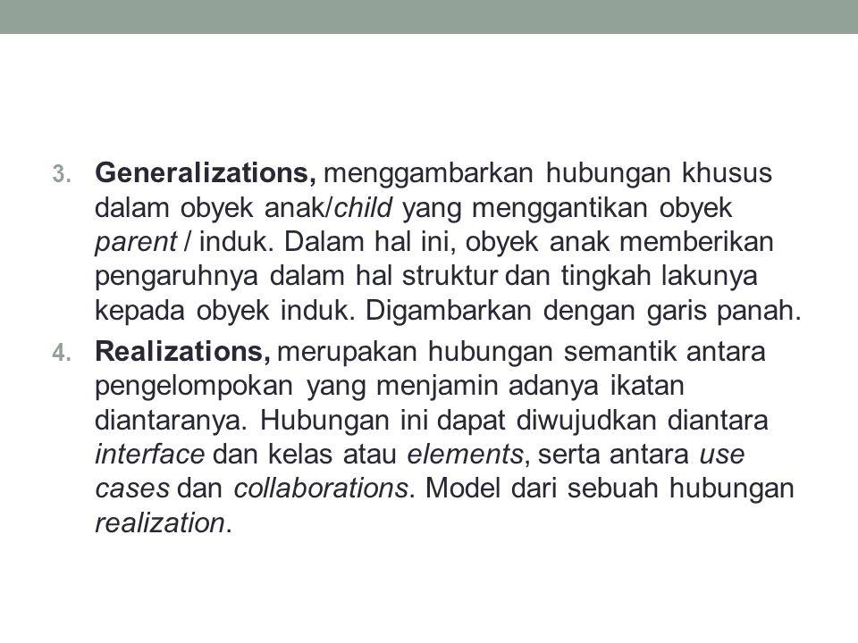 3. Generalizations, menggambarkan hubungan khusus dalam obyek anak/child yang menggantikan obyek parent / induk. Dalam hal ini, obyek anak memberikan