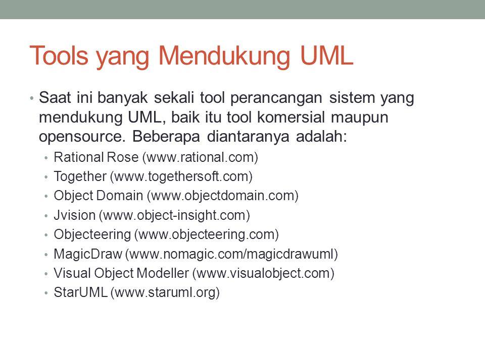 Tools yang Mendukung UML Saat ini banyak sekali tool perancangan sistem yang mendukung UML, baik itu tool komersial maupun opensource. Beberapa dianta