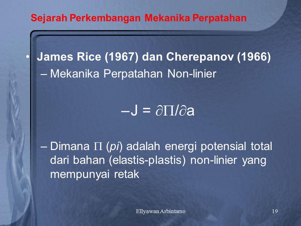 Ellyawan Arbintarso19 Sejarah Perkembangan Mekanika Perpatahan James Rice (1967) dan Cherepanov (1966) –Mekanika Perpatahan Non-linier –J =  /  a –Dimana  (pi) adalah energi potensial total dari bahan (elastis-plastis) non-linier yang mempunyai retak