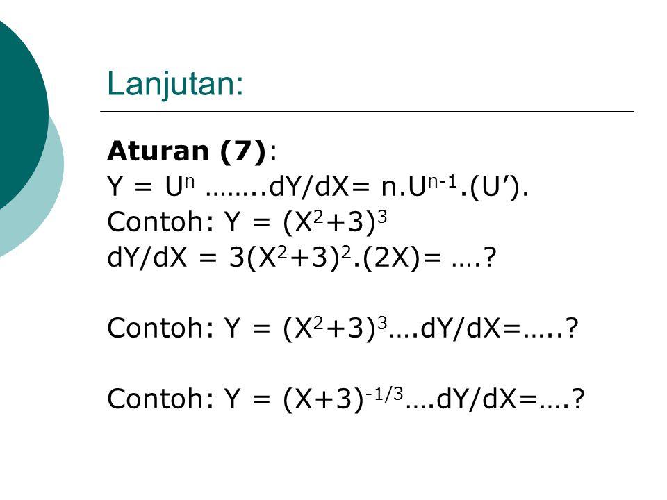 Lanjutan: Aturan (6): Y = U/ V……dY/dX = [ U'V - UV' ]/ V 2 Contoh: Y = 4/ X 6 U=4….U'=0; V=X 6 ….V'= 6X 5 dY/dX = - 24/ X 7 Contoh: Y = (X 3 +16)/X 2
