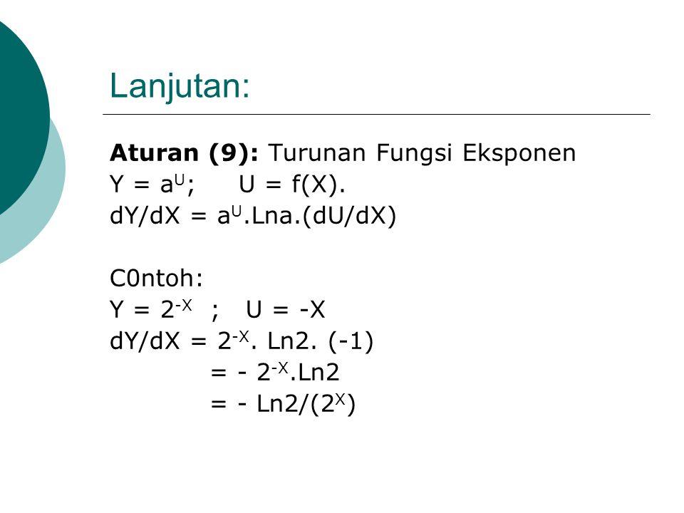 Lanjutan: Rumus (2): Untuk Log.natural. Y = Ln U; U = f(X) dY/dX = 1/U. dU/dX. Contoh: Y = ½ Ln (X 2 +1); U= X 2 +1 Y = ½ Ln U. dY/dX= ½ [(1/U). (dU/d